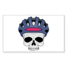 Cycling Skull Head Rectangle Decal