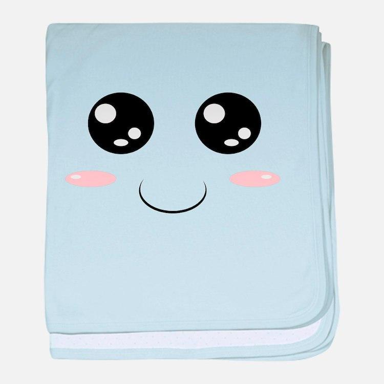 Smiley Kawaii Face baby blanket