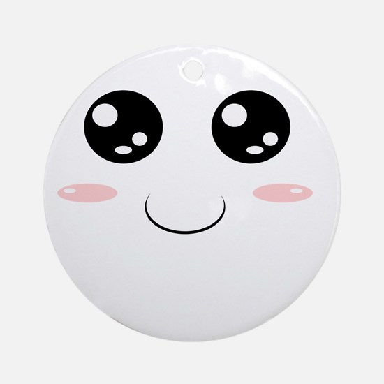 Smiley Kawaii Face Ornament (Round)
