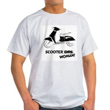 Scooter Woman (Black) Ash Grey T-Shirt