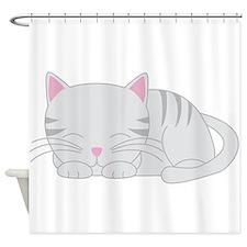 Sleepy Gray Tabby Shower Curtain