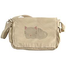 Sleepy Gray Tabby Messenger Bag