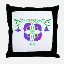 Morning glories in celtic knot Throw Pillow