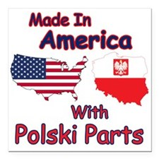 "America With Polski Parts Square Car Magnet 3"" x 3"
