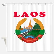 Laos Coat Of Arms Designs Shower Curtain
