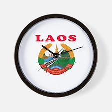 Laos Coat Of Arms Designs Wall Clock