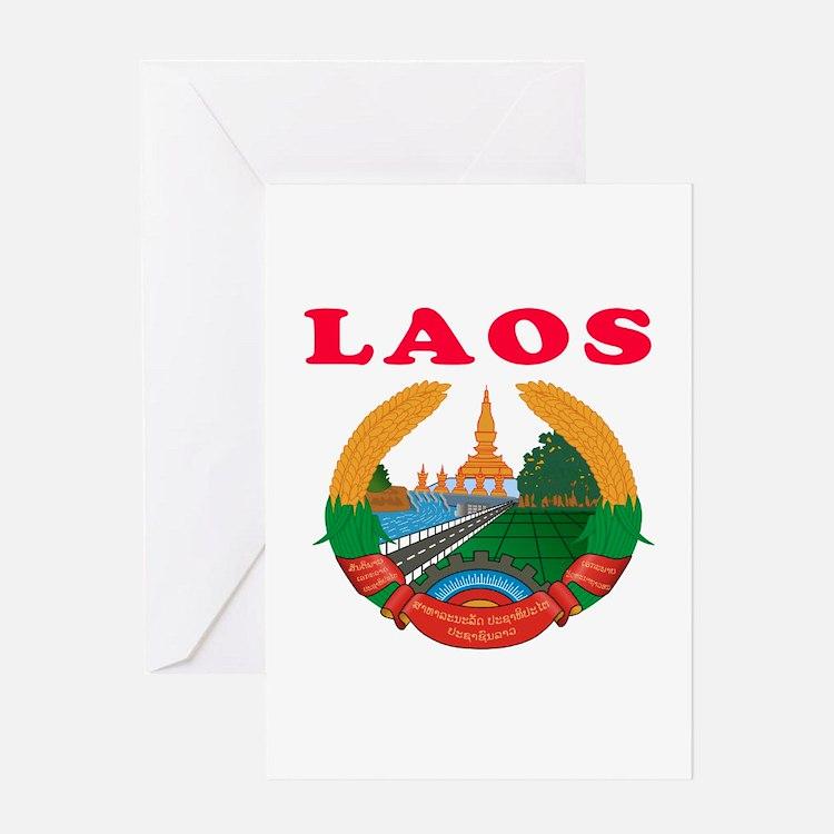 Laos Coat Of Arms Designs Greeting Card