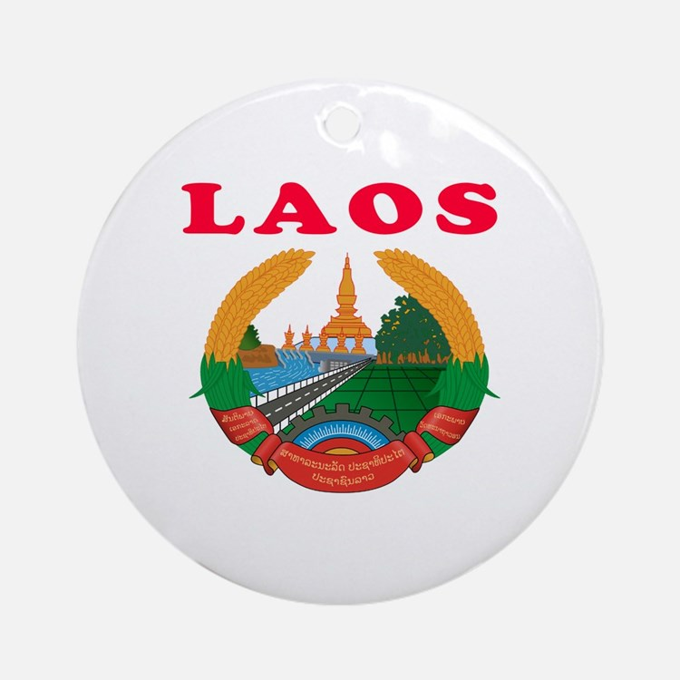 Laos Coat Of Arms Designs Ornament (Round)
