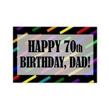 70th Birthday For Dad Rectangle Magnet (10 pack)