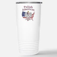 Polish American Map Stainless Steel Travel Mug