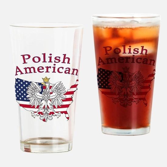 Polish American Map Drinking Glass