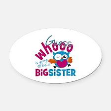 Big Sister - Owl Oval Car Magnet