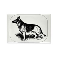 German Shepherd Profile Rectangle Magnet