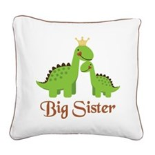 Big Sister Dino Square Canvas Pillow