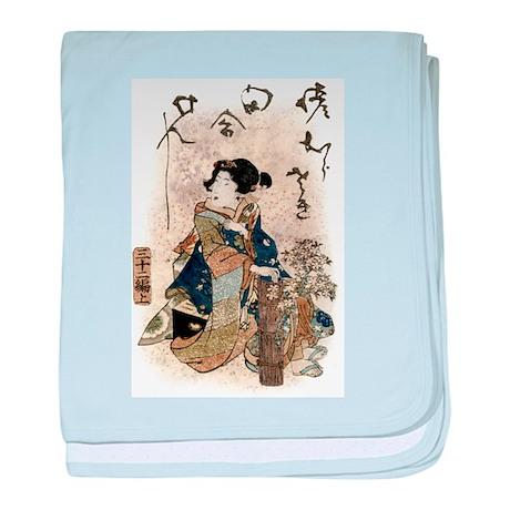 Vintage Japanese Art Woman baby blanket