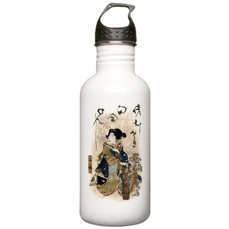 Vintage Japanese Art Woman Stainless Water Bottle