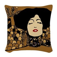 Klimty Face Woven Throw Pillow