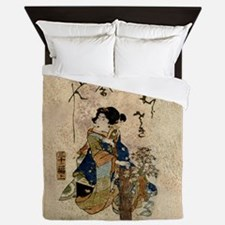 Vintage Japanese Art Woman Queen Duvet