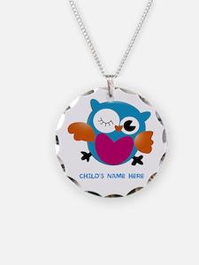 Editable Owl Print Necklace Circle Charm