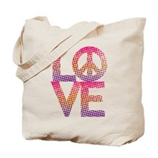 Halftone Dot LOVE=Peace Tote Bag