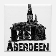 Aberdeen - the Energy Capital (black) Tile Coaster