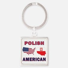 Polish American Pride Map Square Keychain