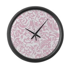 Baby Pink & White Swirls #2 Large Wall Clock