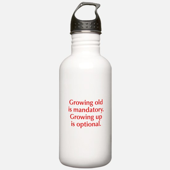 growing-old-opt-red Water Bottle