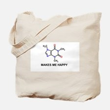 Caffeine Molecule Makes Me Happy Tote Bag