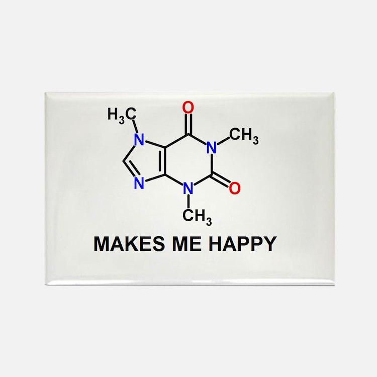 Caffeine Molecule Makes Me Happy Rectangle Magnet
