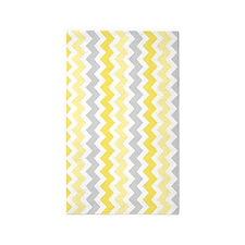 Yellow Grey White Chevron 3'x5' Area Rug