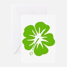Lime Green Hibiscus Greeting Card