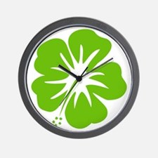Lime Green Hibiscus Wall Clock