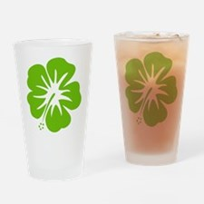 Lime Green Hibiscus Drinking Glass
