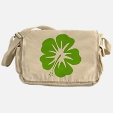Lime Green Hibiscus Messenger Bag