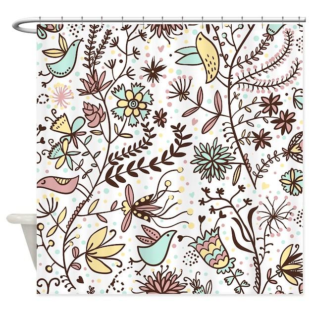 Flowers and Birds Shower Curtain by BestShowerCurtains