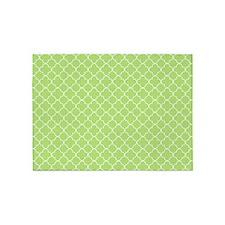 Lime Green White Quatrefoil 5'x7'Area Rug