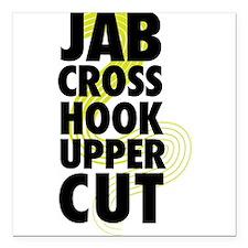 "Jab Cross Hook Upper-cut Square Car Magnet 3"" x 3"""