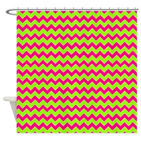 chevron pattern hot pink and lime green shower cur