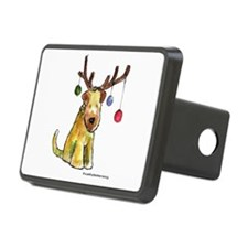 Wheaten terrier with Christmas Antlers Hitch Cover