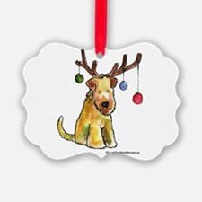 Wheaten terrier with Christmas Antlers Ornament