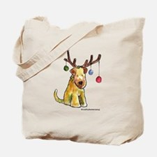 Wheaten terrier with Christmas Antlers Tote Bag