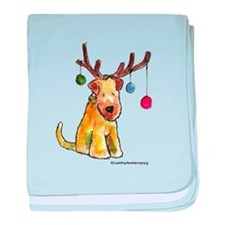 Wheaten terrier with Christmas Antlers baby blanke