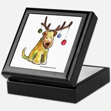 Wheaten terrier with Christmas Antlers Keepsake Bo