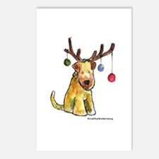 Wheaten terrier with Christmas Antlers Postcards (