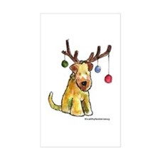 Wheaten terrier with Christmas Antlers Decal
