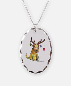 Wheaten terrier with Christmas Antlers Necklace