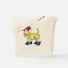 Wheaten terrier playing Santa Tote Bag