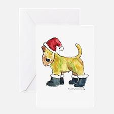Wheaten terrier playing Santa Greeting Card
