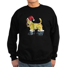 Wheaten terrier playing Santa Sweatshirt